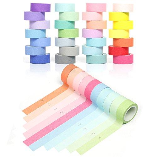 YUKUNTANG Washi Masking Tape Set, Decorative Writable Washi Craft Tape Set 28 Rolls for DIY Crafts Book Designs by YUKUNTANG