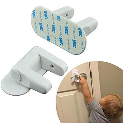 Lever Door Knob Locks - Child Proof - 2 Pack - French Handle Doors - Baby Door Lock Safety for Kids by Plexico