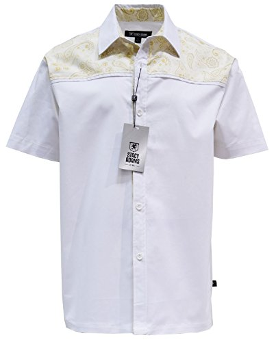 Paisley Design Shirt (STACY ADAMS MEN'S COTTON SHIRT, PAISLEY DESIGN (X-LARGE, KHAKI))