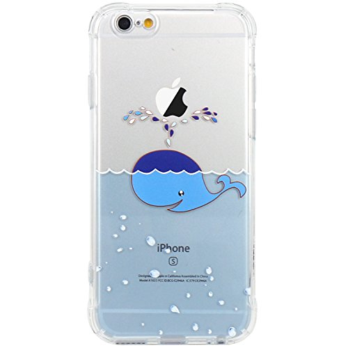 iPhone 6 Case, JAHOLAN Amusing Whimsical Design Clear Bumper TPU Soft Case Rubber Silicone Skin Cover for iPhone 6 6S - Bubble Whale Water Spray