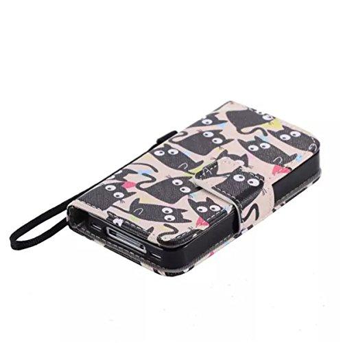 iPhone 4 4S 4G Coque , Apple iPhone 4 4S 4G Coque Lifetrut® [ Chats noirs ] [Emplacement de carte] Pu cuir flip stand Wallet Case antichoc anti-rayures de couverture Avec longe sangle Coque Etui pour