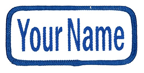 Name patch Uniform or work shirt personalized Identification tape Embroidered Iron On or Hook Fastener, BLUE Ariel, Iron (Ariel Personalized)