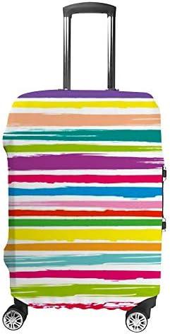 スーツケースカバー トラベルケース 荷物カバー 弾性素材 傷を防ぐ ほこりや汚れを防ぐ 個性 出張 男性と女性カラフルな線背景