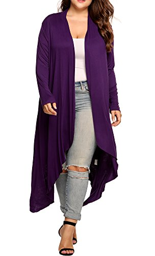 (Women's Plus Size Long Sleeve Waterfall Asymmetric Drape Open Long Maxi Cardigan (Purple, XXL) )