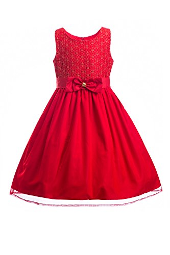 (Emma Riley Girls' Sleeveless Lace Bodice Mesh Pleated Skirt Princess Party Dress, Red, 10)