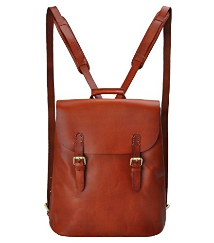 ZLYC Women Handmade Vegetable Tanned Leather Top Handle Handbag Convertible Backpack (Brown in Larger Size)