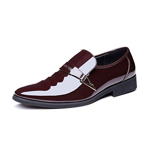 Tuxedo Patent Mens Slip Leather Dress On Shoes Rainlin Brown Toe Shoes Pointed wpf1wqX