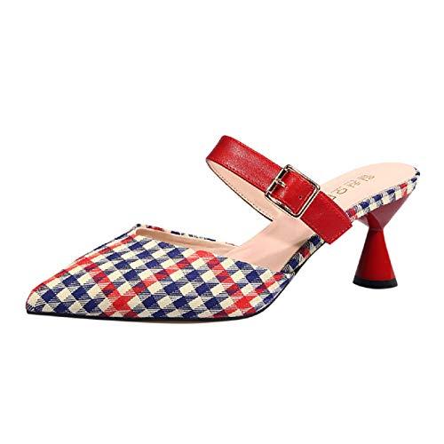 Womens Sandals, FAPIZI Ladies Pointed Toe Summer Sandals Slingback Heels Dress Pumps Court Shoes Elegant Party Sandals Red ()