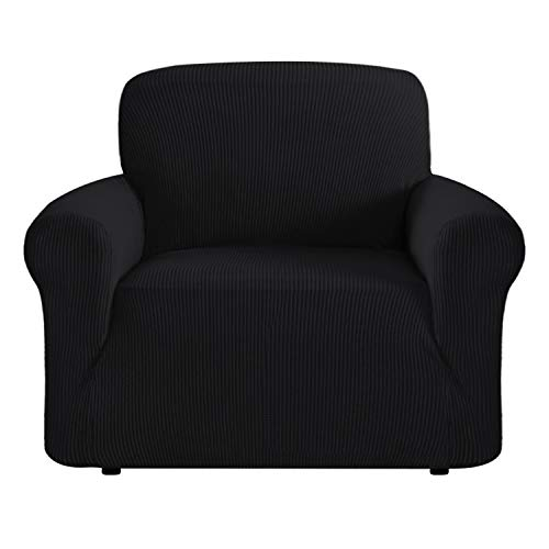 High Stretch 1 Piece Furniture Protector Sofa Cover for Chair, Durable Spandex Stretch Fabric Super Soft Slipcover- (One Seater Chair, Black)