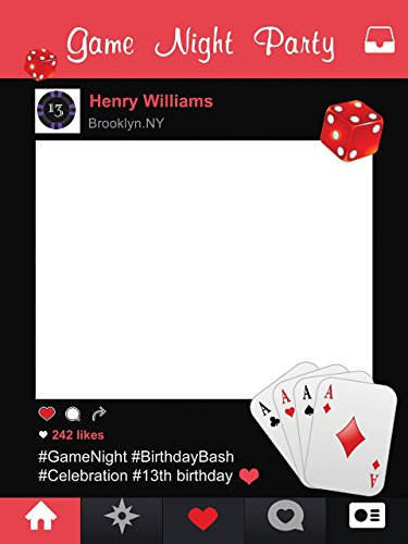 Custom Casino Gambler Photo Booth Prop - sizes 36x24, 48x36; Personalized Poker Cards Dice Chips, Game night party Home Decorations, Handmade Party Supply Photo Booth Frame Matching Frame