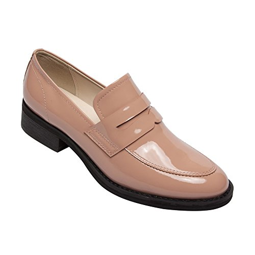 Leather Loafer Heels (PIC/PAY Eric - Women's Patent Penny Loafers - Stacked Leather Block Heel Casual Slip-On Flat Blush Patent 6.5M)