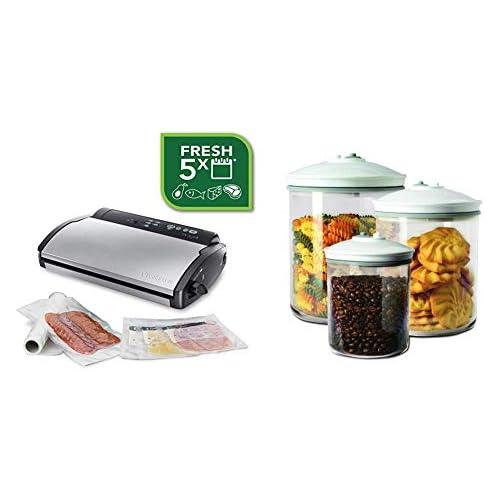 chollos oferta descuentos barato Food Saver V2860 Envasadora al vacío 2 tipos de envasado 3 velocidades color negro y plata FSC003 I 065 Set de 3 tarros de envasado al vacío