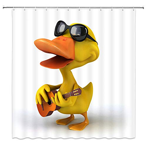 (Children's Duck Shower Curtain Funny Duckling Black Sunglasses Playing Guitar Sing Print White Yellow Bathroom Decor Accessories Cartoon Waterproof Polyester Fabric 70x70Inches )