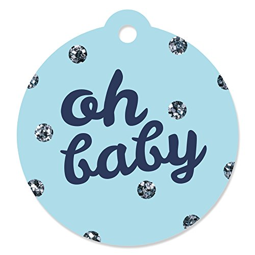 Hello Little One - Blue and Silver - Boy Baby Shower Party Favor Gift Tags (Set of 20) (Baby Shower Favors Gifts)