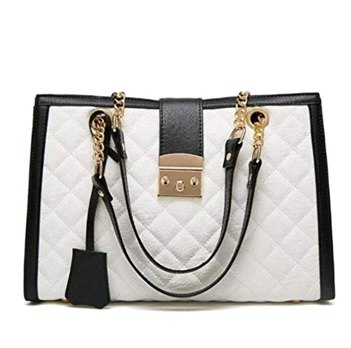 Ladies White Quilted Shoulder Bag - PU Leather Unique Purse Elegant Stylish Handbag For Women