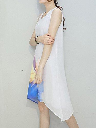 Ad Vestito Eleganti Alta A Basso Cotone Di Whitex Donne Stampa Maniche Senza Di Lenzuola w6d7q7AX