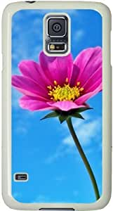 Galaxy S5 Case, Galaxy S5 Cases - Compatible With Samsung Galaxy S5 SV i9600 - Samsung Galaxy S5 Case Durable Protective Case for Black Cover Pink Flower And Sky