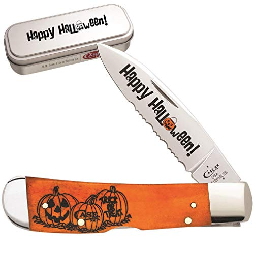 Case XX 10580 Persimmon Orange Bone Halloween 1 Blade Tribal Lock ()