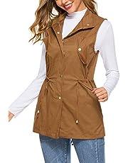 UUANG Women's Sleeveless Lightweight Jacket Drawstring Button Zipper Up Jacket Vest Coat