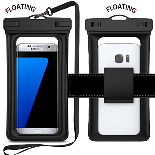 Floating Waterproof Phone Pouch, IPX8 Universal Waterproof Case Underwater Dry Bag with Armband Compatible for iPhone Xs Max/Xr/X/8/8plus/7/7plus Galaxy s9/s8 Note 9/8 Google Pixel (Black)
