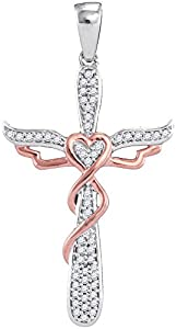 Diamond Pendant 10kt Two-tone Rose Gold Cross Religious 1/6 Cttw(I2/i3, i/j)