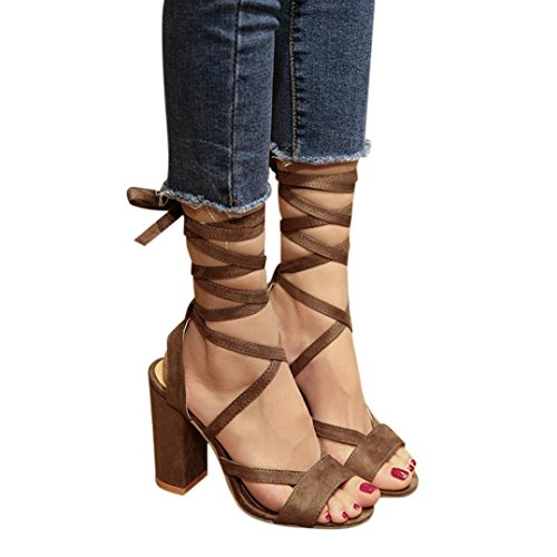 Gladiator Tenworld Brown Stacked Out Sandal Open Sandals Cut Toe Heel Chunky Women's aaxTrdq