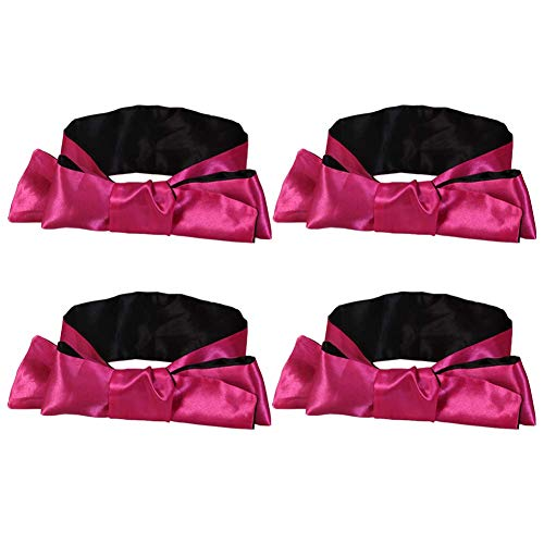 EleCharm Sleep Mask Silk Satin Eye Mask, Night Time Blindfold Tie Stimulate Interest Role Play, 59 inch (Rose Red 4pcs) (Sex Hand Restraints)