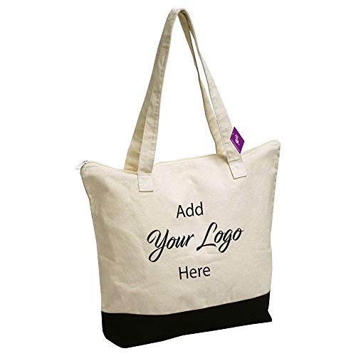 AJK Gifts Zip Cotton Tote / 48-Pieces/Promotional Product with Your Logo/Customized #SPZSH-MRRVU