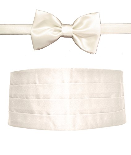 Remo Sartori Made in Italy Men's White Cummerbund Tuxedo Belt & BowTie Set, Silk (Medium: Adjustable from 29'' to 35'') by Remo Sartori