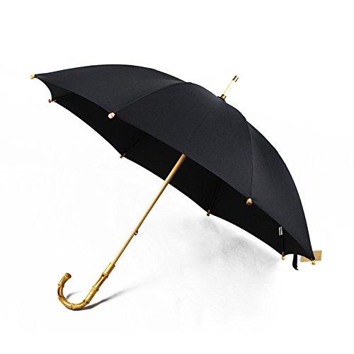 - OLQMY-Vintage handmade in England long handled bamboo cane bamboo umbrella umbrella large commercial umbrella street fashion for men and women take umbrella,Black