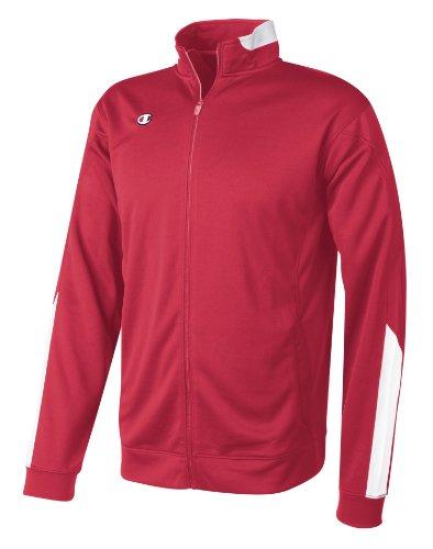 Champion Intent Knit Men's Track Jacket, L-Scarlet/White