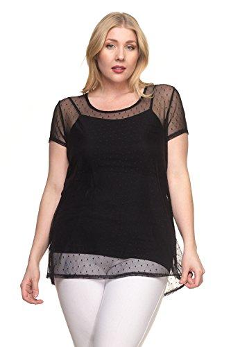 Allegro {FK8829X} Womens Fashionable Round Neck Short Sleeve Dot Mesh Top - Made in USA (1X, - Mesh Shirt Dot