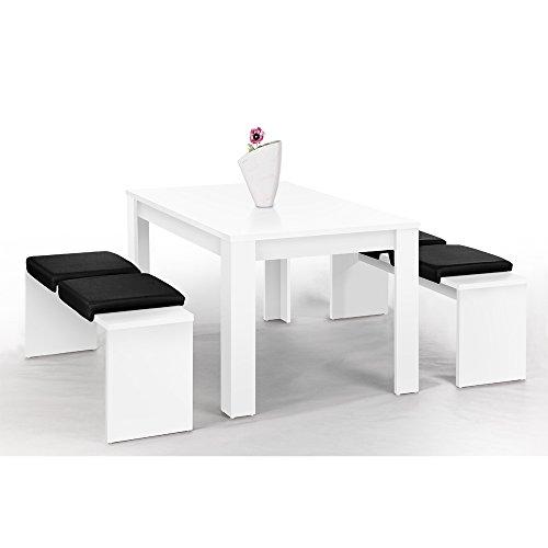 Lübeck Bank-Set weiß mit 1 Tisch (140 x 90 cm) und 2 Bänken (à 130 x 37 cm)