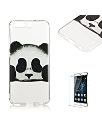 For Huawei P10 Case [with Free Screen Protector], Funyye Fashion lovely Lightweight Ultra Slim Anti Scratch Transparent Soft Gel Silicone TPU Bumper Protective Case Cover Shell for Huawei P10 -Cute panda