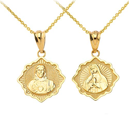 """Certified 14k Gold Reversible Immaculate Heart of Mary/Sacred Heart of Jesus Pendant Necklace, 16"""""""
