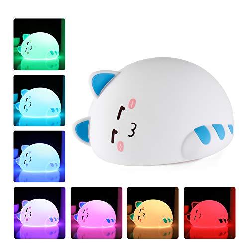 One Fire Night Light for Kids, Nursery Nightlight for Children, Cute Soft Silicone Animal Kitty Lamp for Newborn Girl/Toddler/Baby, Portable Travel Rechargeable Bedroom Night Lamp, Birthday Gifts