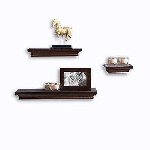 ding Shelf Set Of 3 Modern Design Solid Wood Shelf For Picture Display Espresso ()