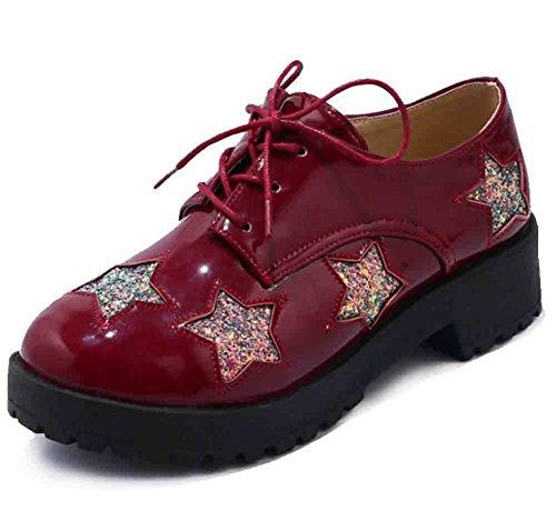 Easemax Womens Fashion Rund Tå Lågt Skuren Snörning Låga Blocket Häl Oxfords Skor Röd
