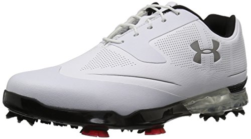 Under Armour 2017 UA Tour Tips Waterproof Mens Spikes Golf Shoes - Leather White/Black 11UK White/Metallic Silver