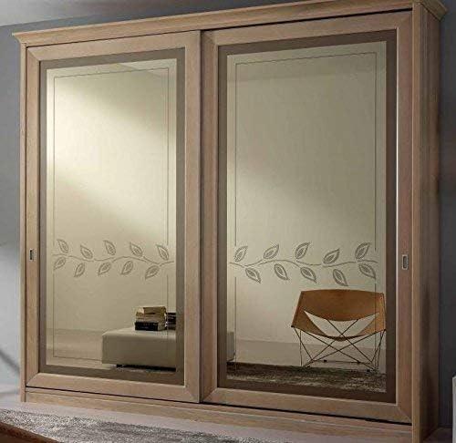 Armario de 2 puertas correderas con espejo, cajonera interior, color madera clara, H 257,5 x 58 x 280, 190 kg. Estructura: tamburado con estructura de abeto, chapa de ...