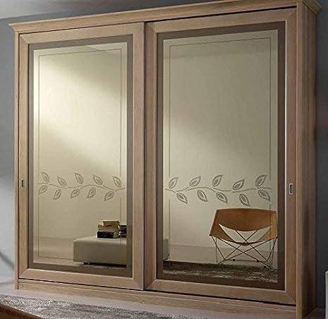 Armario de 2 puertas correderas con espejo, cajonera interior ...