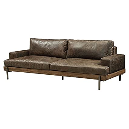 Ordinaire Acme Silchester Leather Sofa In Oak And Distress Chocolate