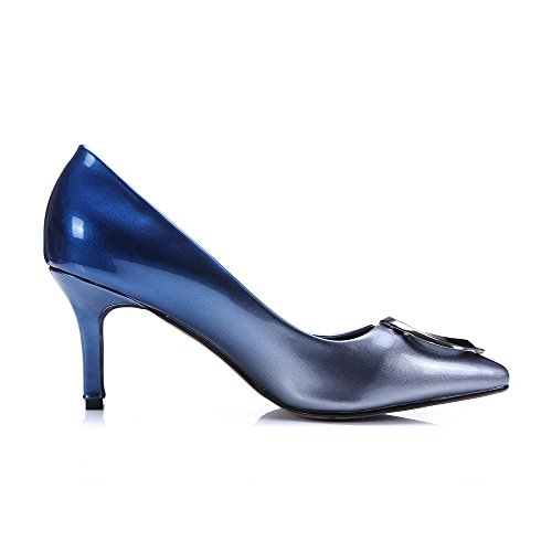 AllhqFashion Pumps Pointed On Toe Shoes Pull High Closed Blue PU Color Assorted Heels Womens wTqHwC