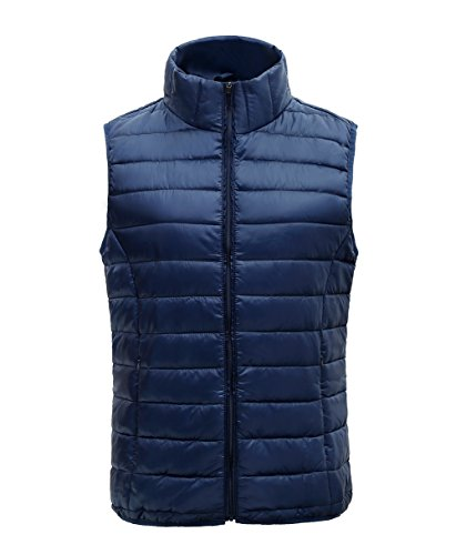 SUNDAY ROSE Womens Packable Vest Lightweight Outdoor Puffer Sleeveless Jacket Navy - Size XL
