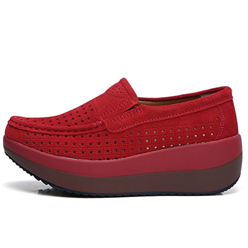 HKR Frauen Loafers Slip-on-Plattform Turnschuhe Komfort Wildleder Mokassins Schuhe fahren 3213-1 Rot aushöhlen