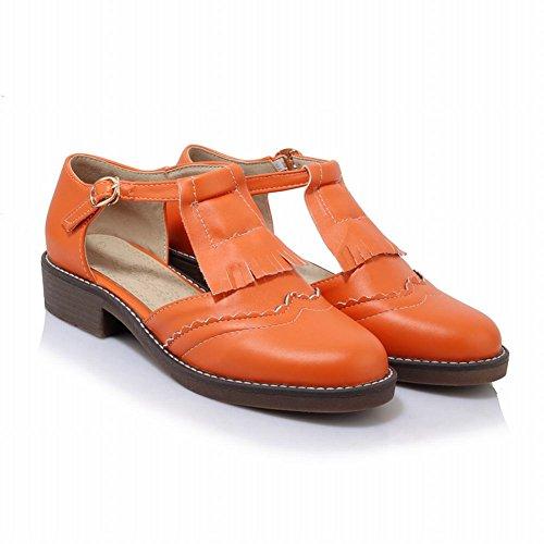 Sjarm Fot Womens Tasssel T-stropp Lav Hæl Sandaler Oransje