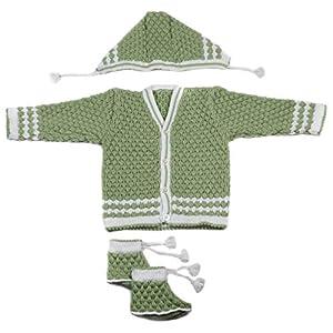 Desi mart Baby Vardhman Woolen Unisex Knitted Sweater Set for Infants 3 Pieces for Babies