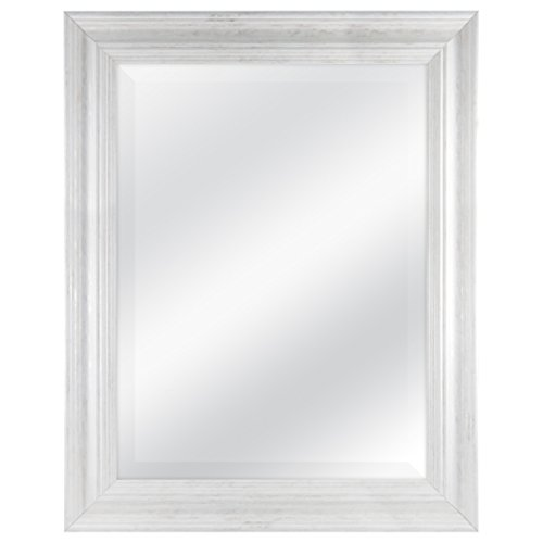 MCS 18 by 24 inch Scoop Mirror, 23.5 by 29.5 inch Outside Dimension, White Wash Finish 20547, 23.5 x 29.5 Inch,