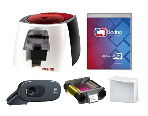 ic ID Card Printer with Complete Supplies Package with Bodno ID Software & Photo ID Camera ()