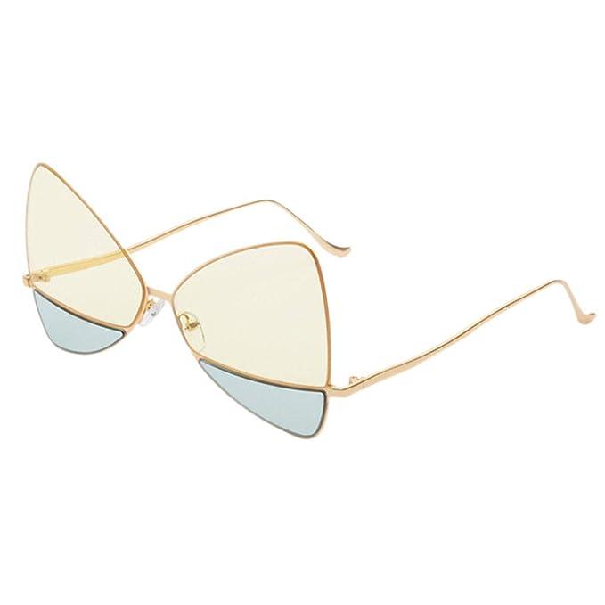 Deylaying Vintage estrecho puente Cat Eye Gafas de sol Thin Metal Frame Gafas doble color lente